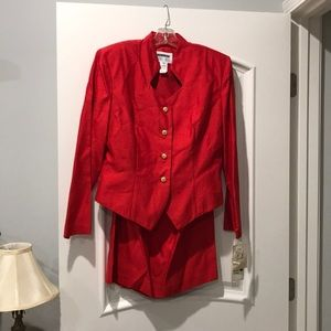 NEW!! Red suit shirt jacket with knee high skirt
